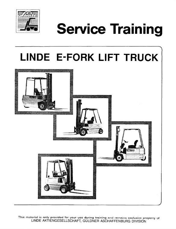 Linde Type 322, 323, 324: E10, E12, E14, E15, E15S, E16, E16S, E20, E25, E30 Workshop Service Manual