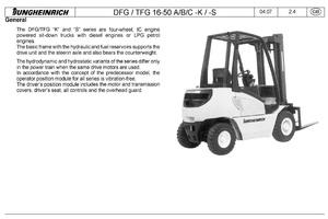 Jungheinrich Fork Truck DFG316S, TFG316S, DFG320S, TFG320S (07.2008-08.2009) Service Manual