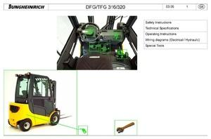 Jungheinrich Fork Truck DFG 316, DFG 320, TFG 316, TFG320 (04.2006-05.2014) Service Manual