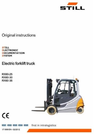 Still Electric Forklift Truck Type RX60-25, RX60-30, RX60-35: 6321 6322 6323 6324 6325 User Manual