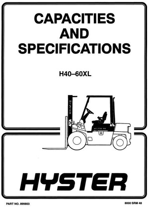 Hyster Truck Type B177, C177: H2.00XL (H40XL), H2.50XL (H50XL), H3.00 (H60XL) Workshop Manual