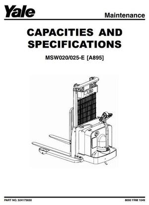 Yale Pallet Truck Type A895: MSW020-E, MSW025-E Workshop Service Manual