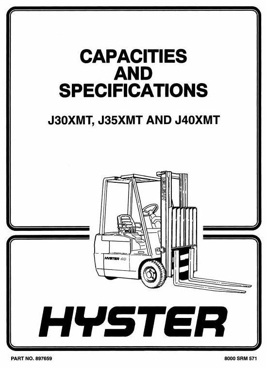 Hyster Forklift Truck Type F160: J30XMT, J35XMT, J40XMT Workshop Manual