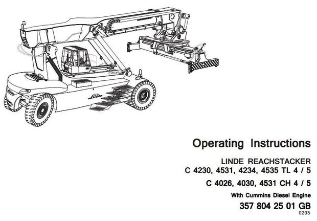 Linde Truck Type 357-02, 357-03: C4026, C4030, C4230, C4234, C4531, C4535  User Manual