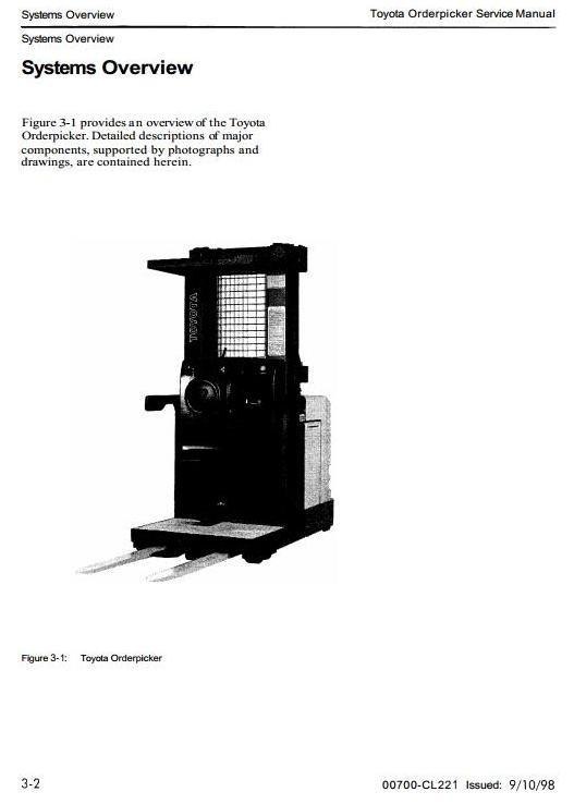 Toyota Order Picker Type  6BPU15 sn:70001-79999 Workshop Service Manual