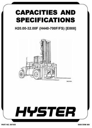 Hyster Forklift Truck Type E008: H20.00F-H32.00F, H550F-H700F, H440FS-H700FS Workshop Manual