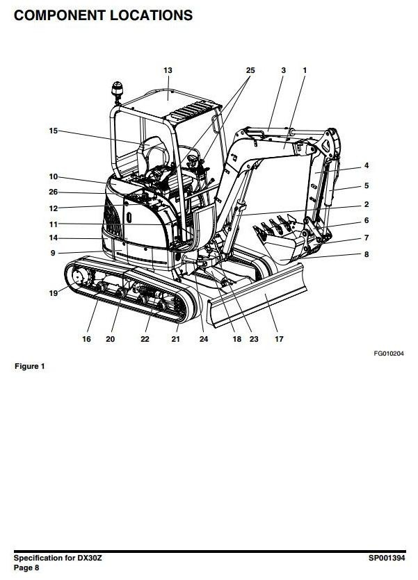 Doosan Excavator DX30Z: S/N: 5001 and Up Workshop Service Manual