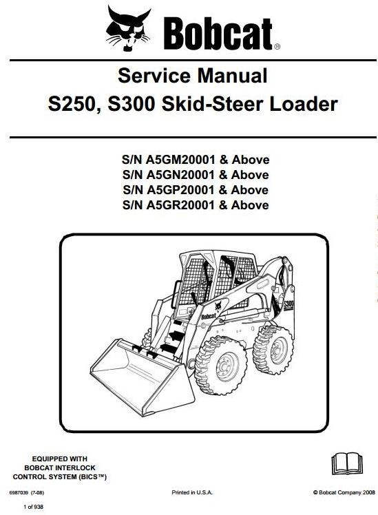 Bobcat Skid Steer Loader S250, S300: S/N A5GM/A5GN/A5GP/A5GR 20001 up Workshop Manual