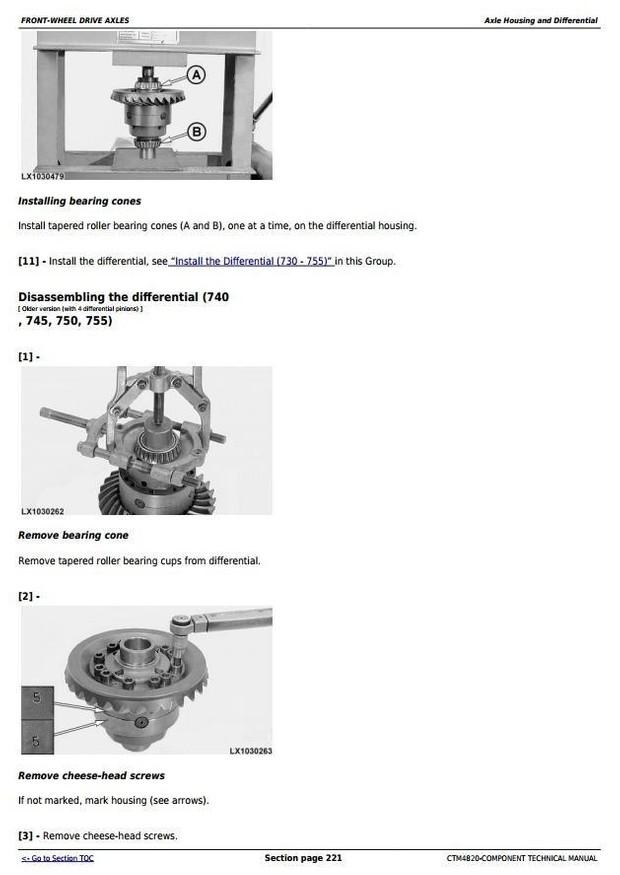 John Deere 725, 730, 733, 735, 740, 745, 750, 755,755HD Front Drive Axles Technical Manual (CTM4820)
