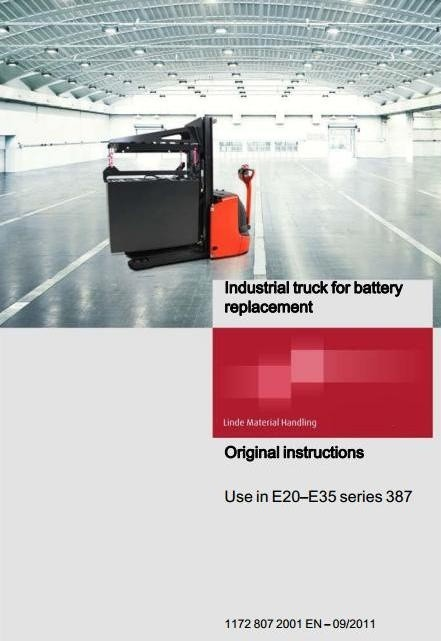 Linde Industrial Truck For Battery Replacement Operating Instructions (User Manual)