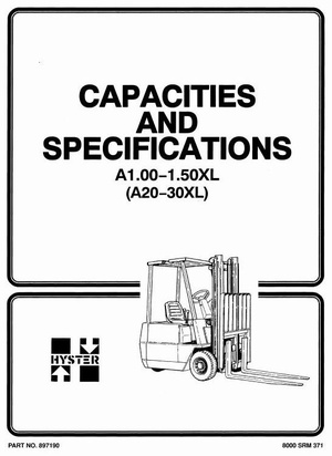 Hyster Forklift Truck Type A203: A1.00XL (A20XL), A1.25XL (A25XL), A1.50XL (A30XL) Workshop Manual