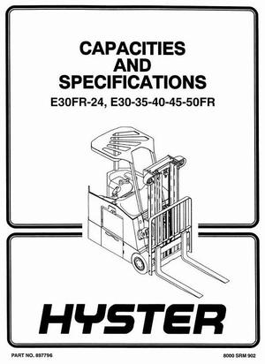 Hyster Forklift Truck Type Z943: E30FR, E30FR-24, E35FR, E40FR, E45FR, E50FR Workshop Manual