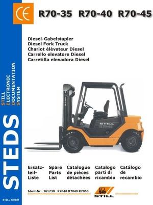 Still Diesel Fork Truck Type R70-35, R70-40, R70-45:  R7048, R7049, R7050 Parts Manual