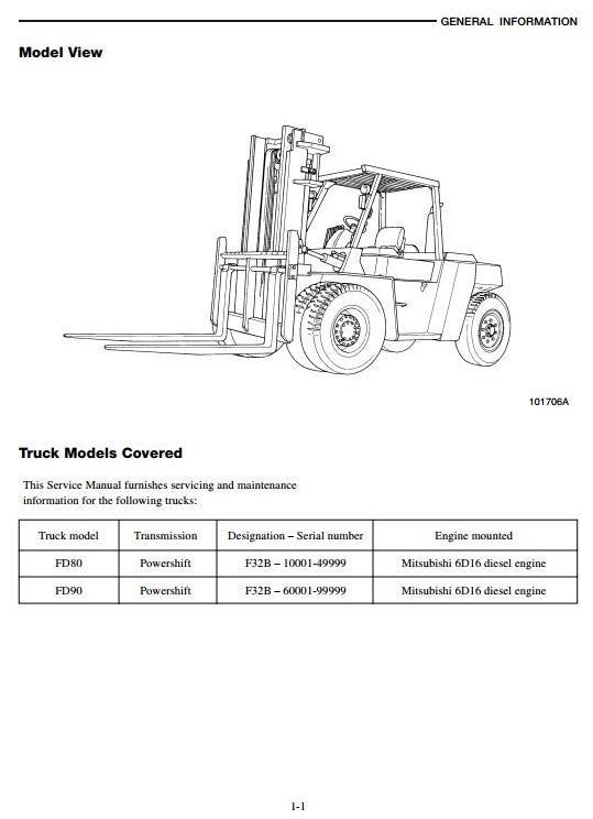 Mitsubishi Diesel Forklift Truck FD80 (F32B-10001-49999), FD90 (F32B-60001-99999) Service Manual