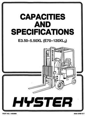 Hyster Electric Forklift Truck Type C098: E70XL3,E80XL3,E100XL3,E100XL3S,E120XL3 Workshop Manual