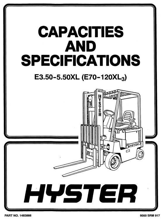 Hyster Electric Forklift Truck Type C098: E70XL3,E80XL3,E100XL3,E100XL3S,E120XL3 Workshop Manual