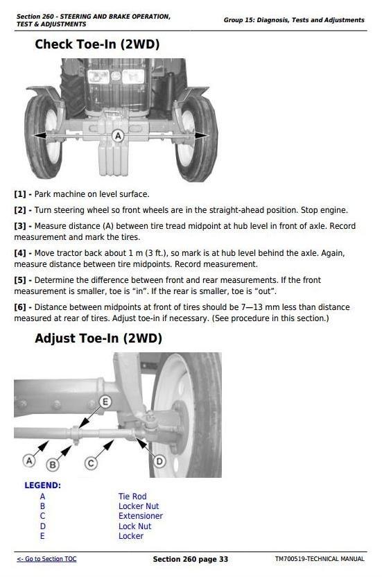 John Deere 5-750, 5-754, 5-800, 5-804, 5-850, 5-854, 5-900, 5-950 Tractors Repair Manual (TM700519)