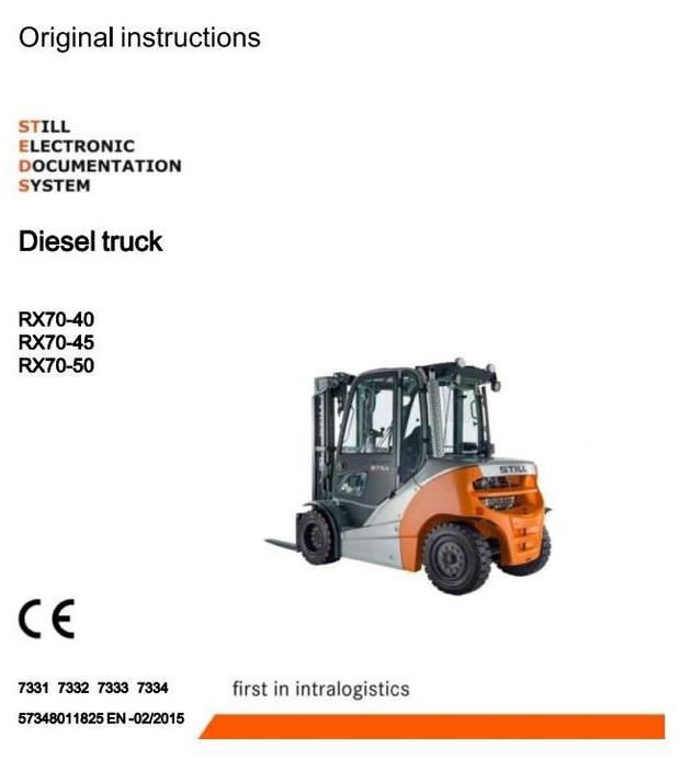 Still Diesel Forklift Truck RX70-40D, RX70-45D, RX70-50D: 7331, 7332, 7333, 7334 Operating Manual