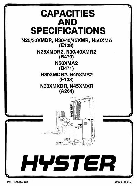 Hyster Electric Forklift Truck Type F138: N30XMDR2, N45XMR2 Workshop Manual