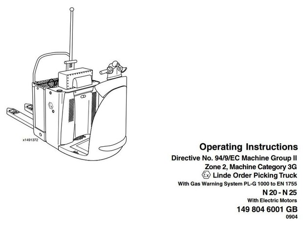 Linde Order Picker Type 149 Explosion Protected: N20 Ex, N25 Ex Operating Instructions