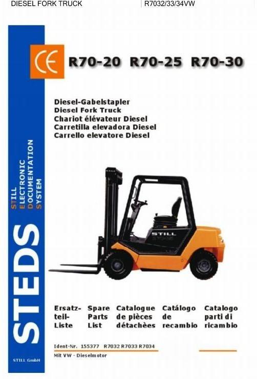 Still Diesel VW Fork Truck Type R70-20, R70-25, R70-30: DFG R7032, R7033, R7034 Parts Manual