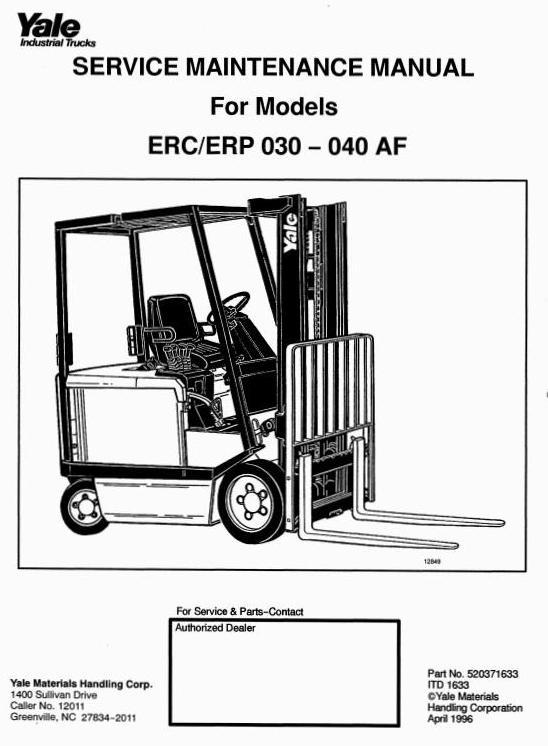yale electric forklift truck erc030af, erc040af, erp0 24 volt electric scooter wiring diagram moter my 1018 yale electric forklift truck erc030af, erc040af, erp030af, erp040af workshop service manual
