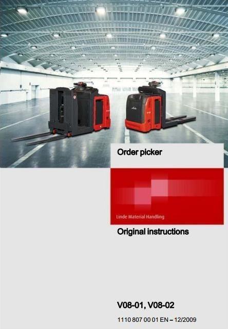 Linde Order Picker Type 1110: V08-01, V08-02 Operating Instructions (User Manual)