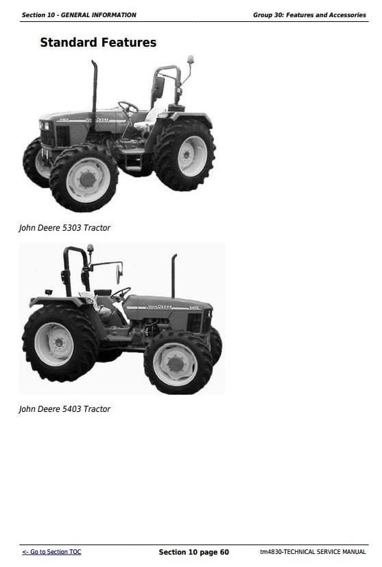 John Deere 5303 and 5403  India Tractors Repair Technical Service Manual (tm4830)
