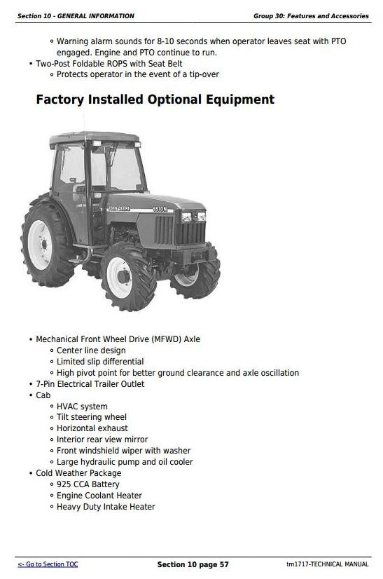 John Deere 5310N and 5510N USA Tractors Diagnostic and Tests Technical Service Manual (tm1717)