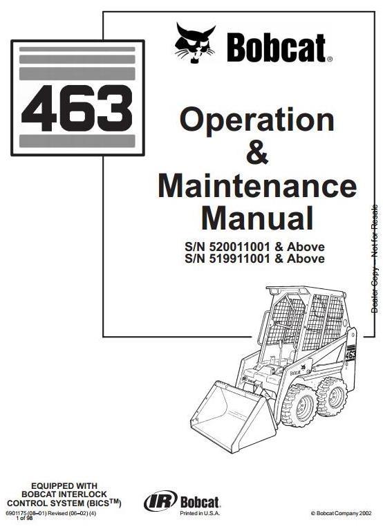 bobcat skid steer loader type 463 s70 s n 519911001 rh sellfy com bobcat 463 wiring diagram Bobcat 873 Wiring Harness Diagram
