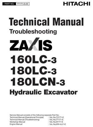 Hitachi Hydraulic Excavator Zaxis 160LC3, 180LC3, 180LCN-3 Workshop Service Manual