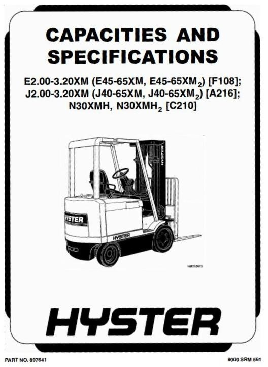 Hyster Forklift Truck Type A216: J2.00XM2, J2.50XM2,  J3.00XM2, J3.20XM2 Workshop Manual