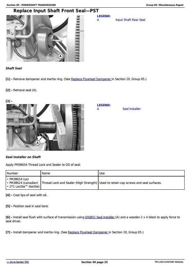 John Deere 8310RT, 8335RT & 8360RT 8RT RW (902501- 912000) Tractors Service Repair Manual (TM110519)