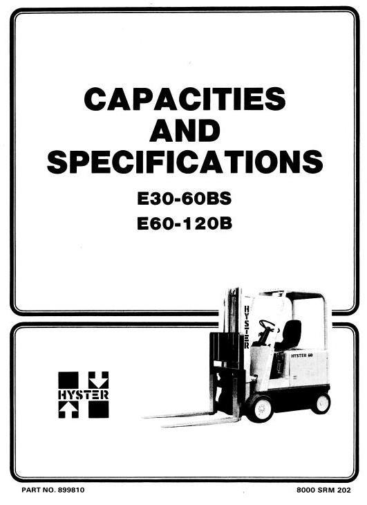 Hyster Electric Forklift Truck Type B098: E100B, E120B, E60B, E70B, E80B Workshop Manual