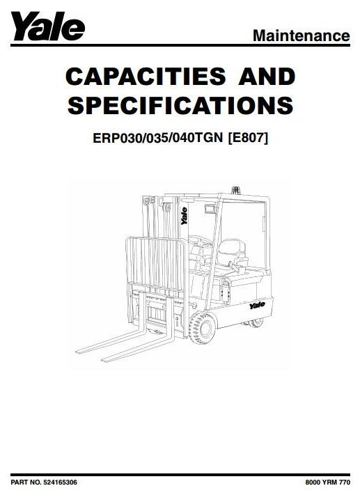 yale forklift truck type e807 erp030tgn erp035tgn e rh sellfy com yale forklift repair manual yale forklift service manual nro35al