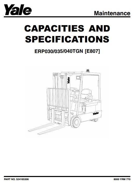 yale forklift truck type e807 erp030tgn, erp035tgn, e nissan forklift schematic yale forklift truck type e807 erp030tgn, erp035tgn, erp040tgn workshop service manual