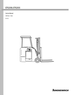 Jungheinrich Electric Lift Truck ETG-Series: ETG350, ETG355 (from 01.2010) Workshop Manual