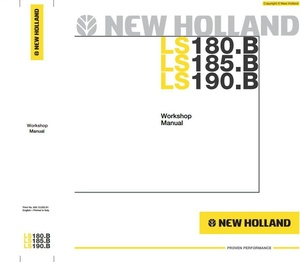 New Holland Skid Steer Loader LS180.B, LS185.B, LS190.B Workshop Service Manual