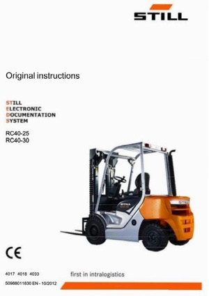 Still Electric Lift Truck Type RC40-25, RC40-30: R4017, R4018, R4033 Operating  Instructions