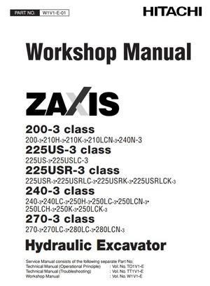 Hitachi Hydraulic Excavator Zaxis 200-3, 225US-3, 225USR-3, 240-3, 270-3 Series Workshop Manual