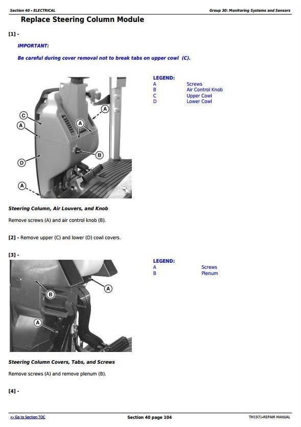 John Deere 8120T, 8220T, 8320T, 8420T & 8520T Tracks Tractors Service Repair Manual (TM1971)