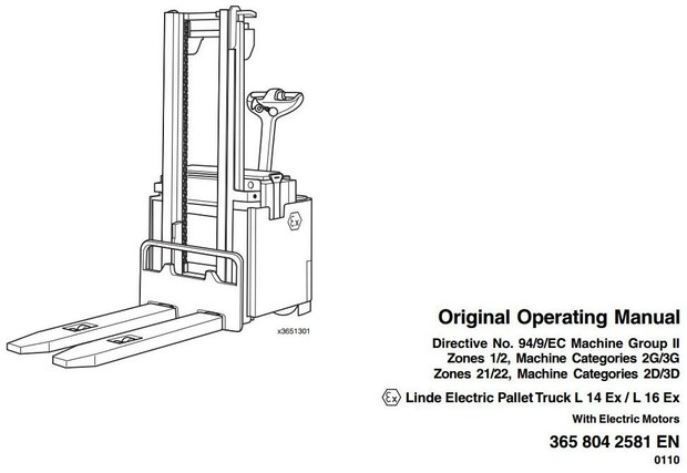 Linde Pallet Truck Type 365 Explosion Protected: L14 Ex, L16 Ex Operating and Maintenance Manual
