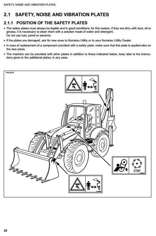 Komatsu Backhoe Loader WB97S-2 sn: 97SF11205 and up Operating and Maintenance Instructions