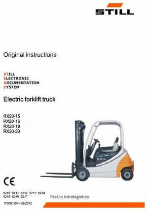 Still Electric Forklift Truck Type RX20-15, RX20-16, RX20-18, RX20-20: R6210-R6217 Operating Manual