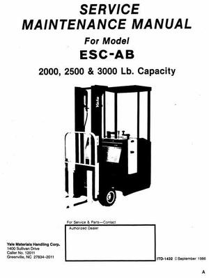 Yale Electric Forklift Truck: ESC020AB, ESC025AB, ESC030AB Workshop Service Manual