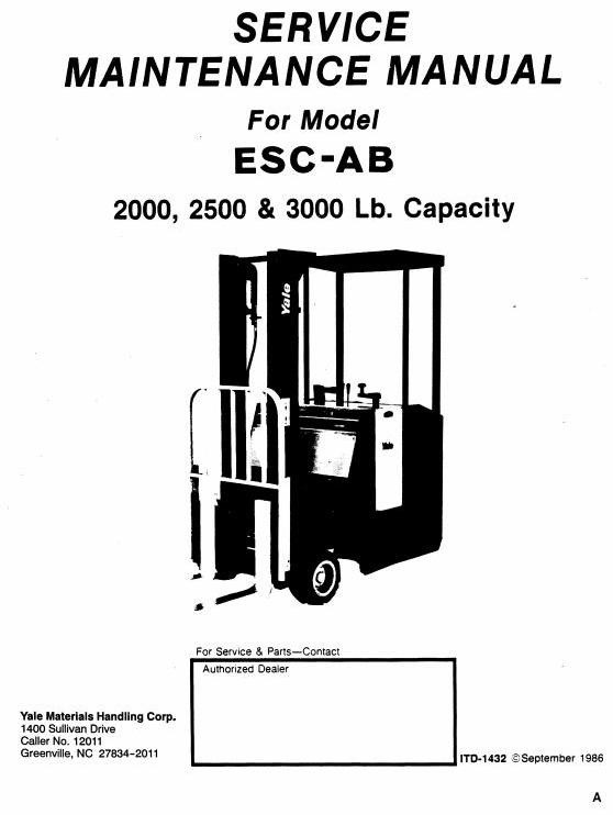 Yale Electric Forklift Truck: ESC020AB, ESC025AB, ESC030AB Workshop Service Manual