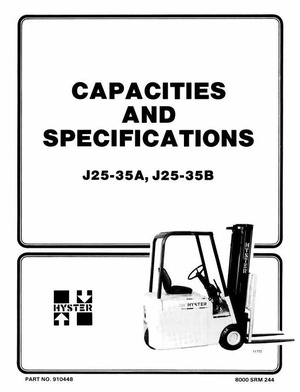 Hyster Forklift Truck Type B160: J25A, J25B, J30A, J30B, J35A, J35B Workshop Manual