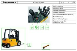 Jungheinrich Electric Lift Truck EFG 535, EFG 540, EFG 545, EFG 550 (11.09-08.13) Service Manual