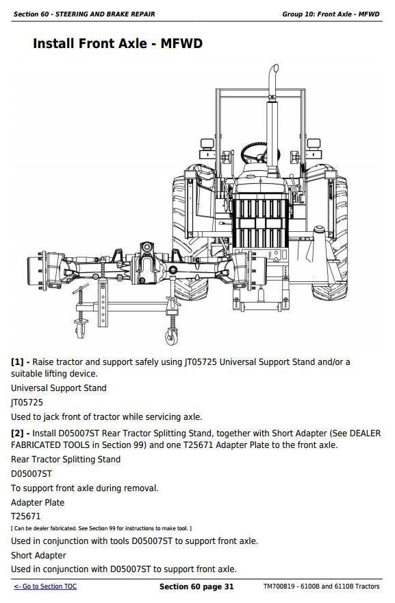 John Deere 6100B and 6110B China Tractors Service Repair Manual (TM700819)