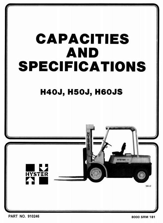 hyster forklift truck type f003  h40j  h50j  h60js wor